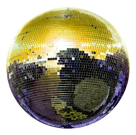 spinning disco ball isolated on white photo