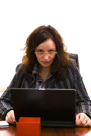 businesswoman looking over laptop Stock Photo - 6390558