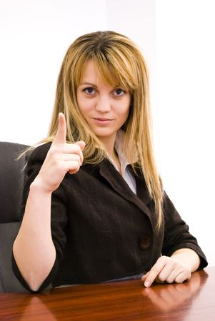 young businesswoman pointing with finger Stock Photo - 6390578