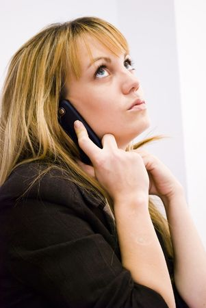 blonde businesswoman working and talking on phone Stock Photo - 6391108