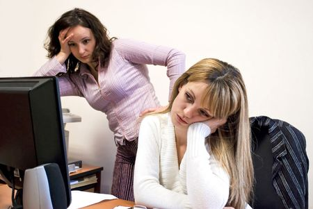 deadlock: two attractive colleagues being in deadlock at work