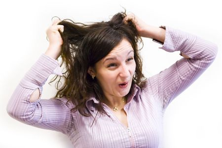 young businesswoman pulling her hairs Stock Photo - 6390584