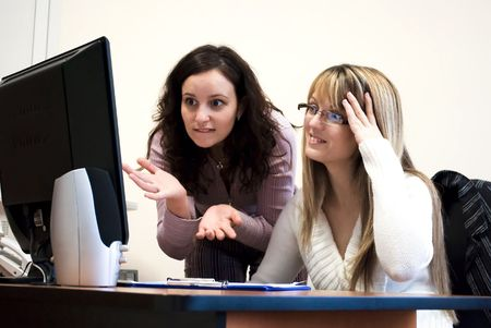 two attractive colleagues working as a team Stock Photo - 6506299