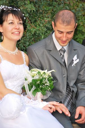 bride and groom portrait on a bench holding hands photo