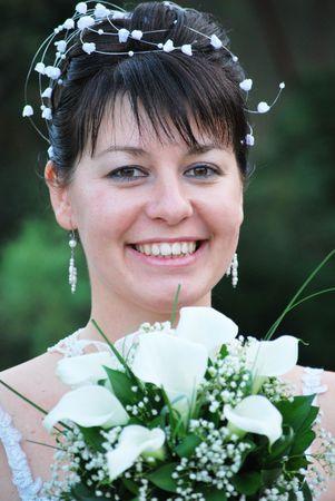 beautiful happy smiling bride portrait photo