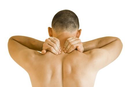 sports massage: hombre joven tener masaje haciendo de dolor de cuello  Foto de archivo