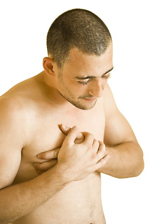 young man having pain in his chest