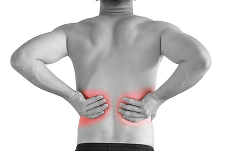 back strain: backache Stock Photo