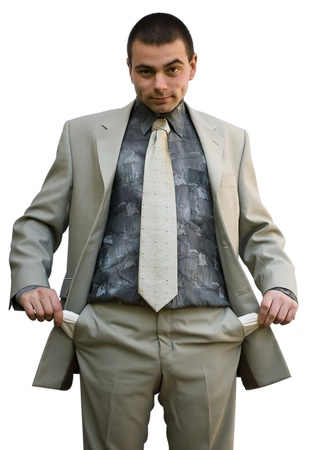 bolsa dinero: hombre de negocios j�venes mostrando sus bolsillos vac�os, buscar  Foto de archivo
