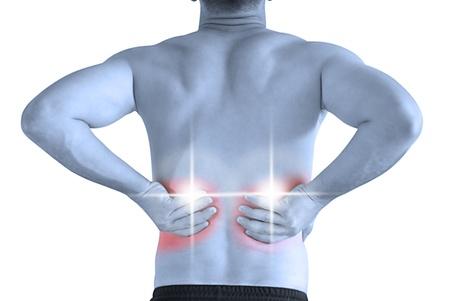 sports massage: joven tener cuello doler y haciendo de dolor de espalda masaje