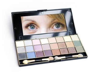 close up of eyeshadows isolated on white photo