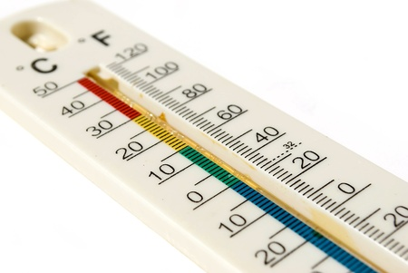 celsius and fahrenheit thermometer scale isolated on white Stock Photo - 9362046