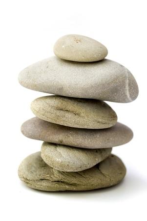 balanced spa stones isolated on white background Stock Photo - 9643298