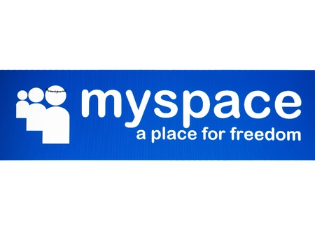 Myspace Logo on a laptop screen