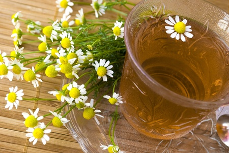 chamomile tea on wooden mat with fresh herbs photo