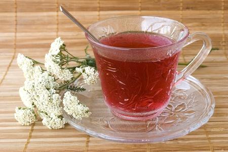 Achillea millefolium tea on wooden mat with fresh herbs Stock Photo - 9797518