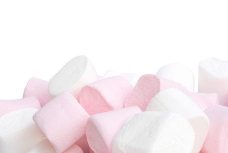 white and pink fluffy candies isolated on white background