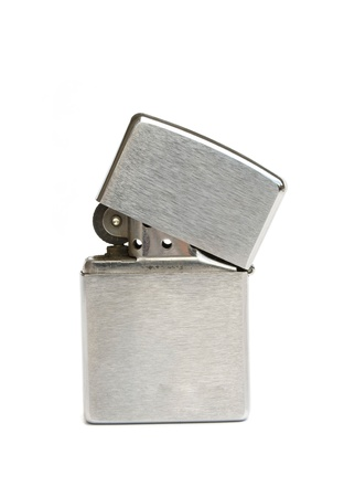 lighter: silver zippo lighter isolated on white background Stock Photo