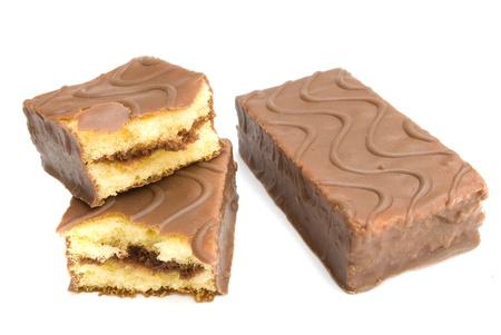 chocolate cake isolated on white background photo