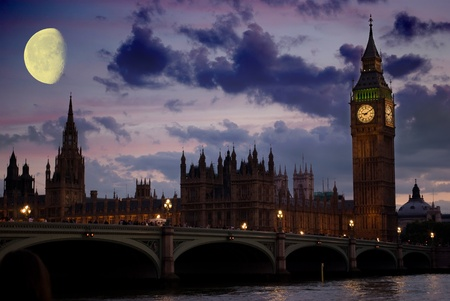 london tower bridge: Big Ben at sunset light