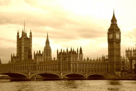 Big Ben en het Parlement bij zonsondergang het licht Stockfoto
