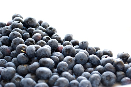 pile of blueberries isolated on white background photo