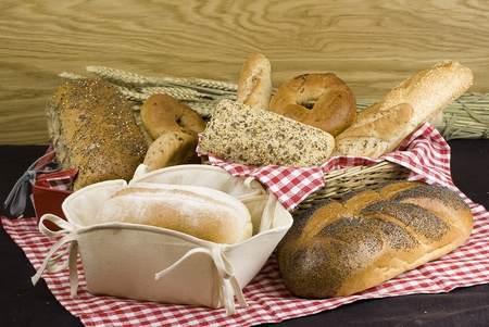 variety of different freshly baked bread in baskets Stock Photo - 12606493