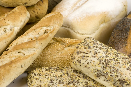 close up of variety of freshly baked bread photo