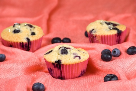 homemade blueberries muffins over pink fabric and fruits around photo