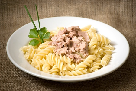 macaroni pasta with tuna in a white plate photo