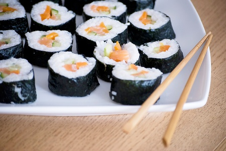 delicious homemade sushi in a white plate photo
