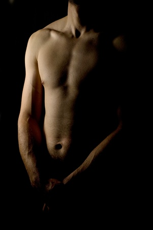 sexy fit naked male body on black background low key Stock Photo - 13535517