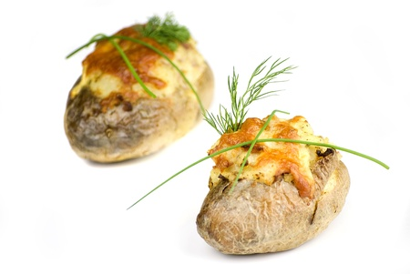 stuffed potatoes covered with cheddar cheese decorated with chives and dill leaves in a white plate Stock Photo - 13725661