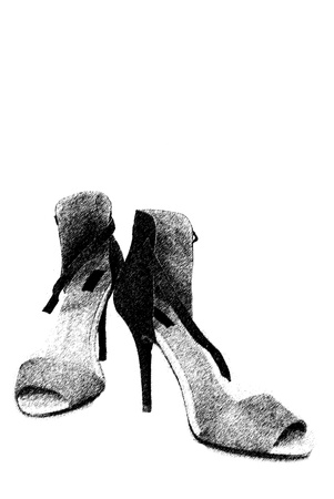 over the hill: fashion female shoes over black background illustration Stock Photo