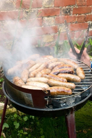 meat grilling on the barbecue in garden photo