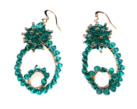 aventurine: jewellery earrings isolated on white background