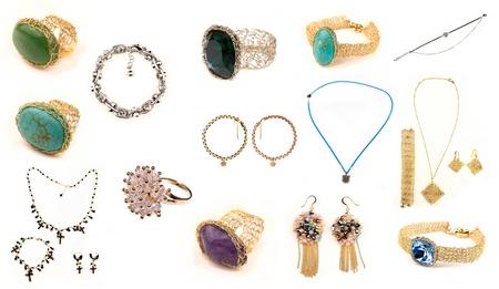jewellery set isolated on white background Stock Photo - 16933366