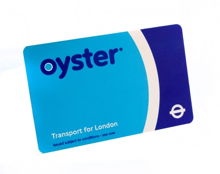 oyster card for transportation in London isolated on white