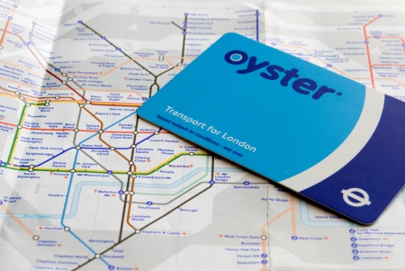 Train card and tube map for transportation in London Editorial