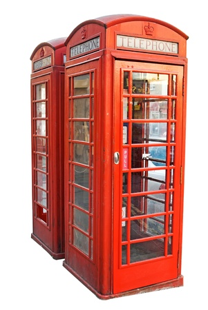 London red telephone booth isolated on white background