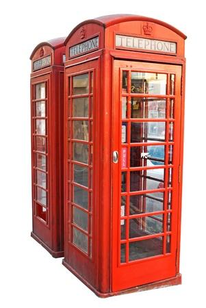 cabina telefonica: Londres cabina de teléfono rojo aislado sobre fondo blanco