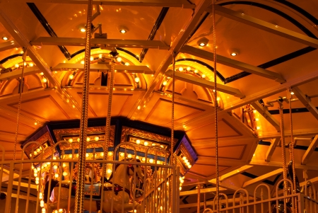 long exposure pictures of amusement park rides and wheels at night Stock Photo