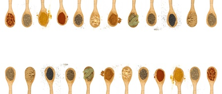 dried leaf: different types of spices isolated on white background