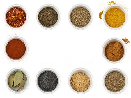 pepper flakes: different types of spices isolated on white background