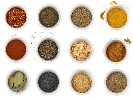 different types of spices isolated on white background Stock Photo - 17931417