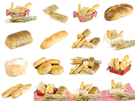 variety of different freshly baked bread in red cotton basket isolated over white background photo