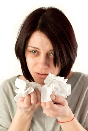 sneezing woman holding tissues, allergy or cold flu concept Stock Photo - 18914077