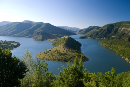 high view of Kardjali lake, Bulgaria in summer photo