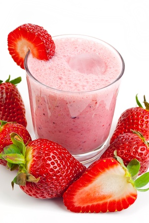 healthy strawberry smoothie isolated on white background photo