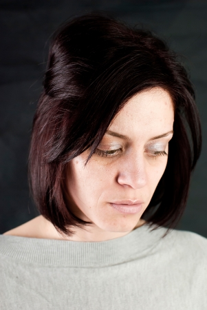 abused women: conceptual portrait of stressed abused young woman  Stock Photo